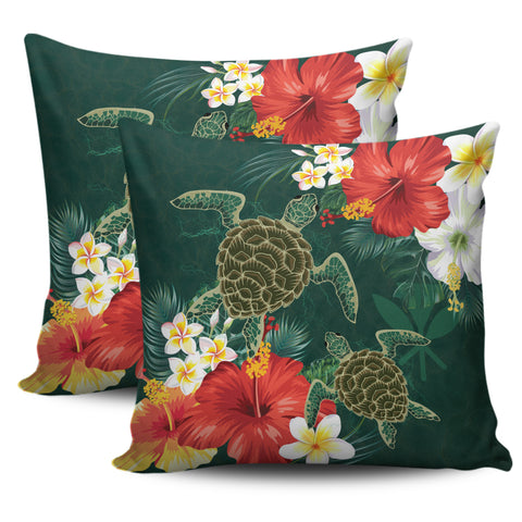 Hawaii Sea Turtle Hibiscus Plumeria Pillow Cover - AH - J4 - Alohawaii