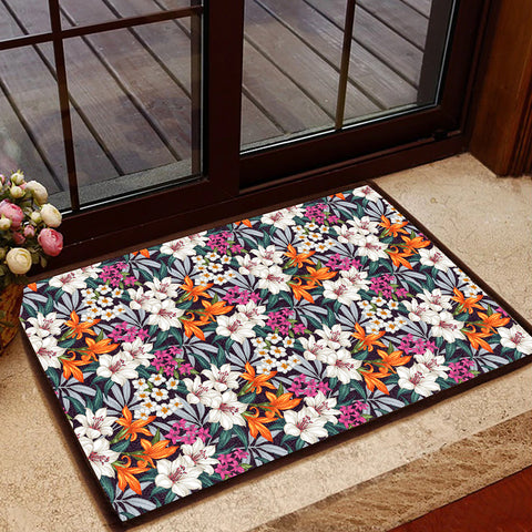 Image of Hawaii Seamless Exotic Pattern With Tropical Leaves Flowers Hawaii Door Mat - AH - J4 - Alohawaii
