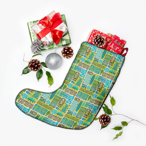 Hawaii Seamless Exotic Tiki Pattern Christmas Stocking - AH - J4 - Alohawaii