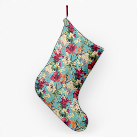 Hawaii Seamless Floral Pattern With Tropical Hibiscus, Watercolor Christmas Stocking - AH - J4