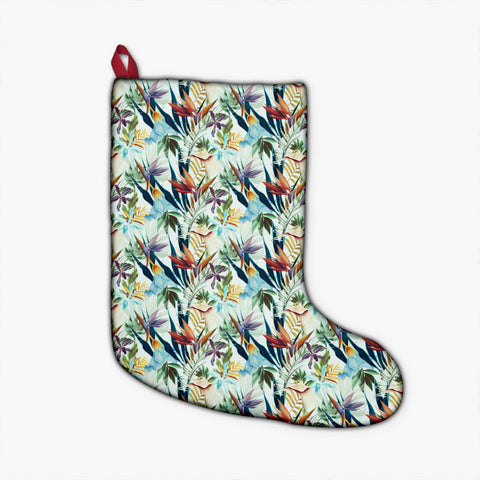 Hawaii Seamless Tropical Flower Plant And Leaf Christmas Stocking - AH - J4 - Alohawaii
