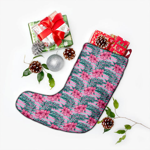 Hawaii Tropical Flowers Palm Leaves Hibiscus Strips Christmas Stocking - AH - J4 - Alohawaii
