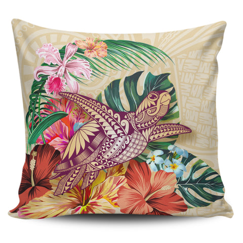 Hawaii Tropical Hibiscus Plumeria Turtle Beige Pillow Cover