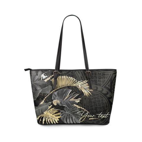 Personalized - Hawaii Tropical Polynesian Large Leather Tote Bag - AH - J4 - Alohawaii
