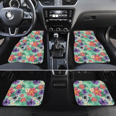 Hawaii Tropical flower, blossom cluster seamless pattern Tropical Flowers Palm Leaves Plant And Leaf Hawaii Car Floor Mats - AH - J6 - Alohawaii