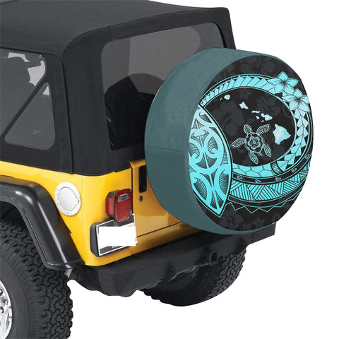 Hawaii Turtle Hibiscus Map Polynesian Turquoise Spare Tire Cover AH J1 - Alohawaii