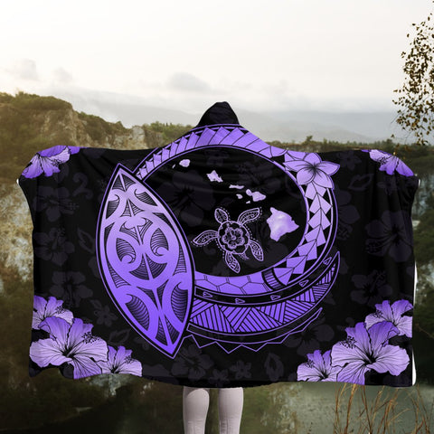 Hawaii Turtle Hibiscus Map Polynesian Hooded Blanket Violet - AH - JR | Hawaii Hooded Blanket - Hawaiian Hooded Blanket - Hooded Blanket For You
