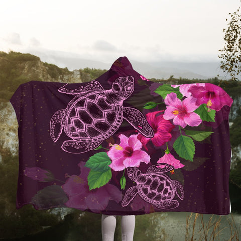 Hawaii Turtle Hibiscus Pink Simple Hooded Blanket - AH - J4R | Hawaii Hooded Blanket - Hawaiian Hooded Blanket - Hooded Blanket For You