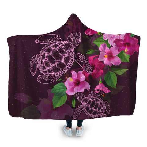 Hawaii Turtle Hibiscus Pink Simple Hooded Blanket - AH - J4R