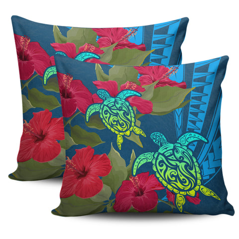Hawaii Turtle Hibiscus Polynesian Pillow Cover - Bana Style - AH - J4