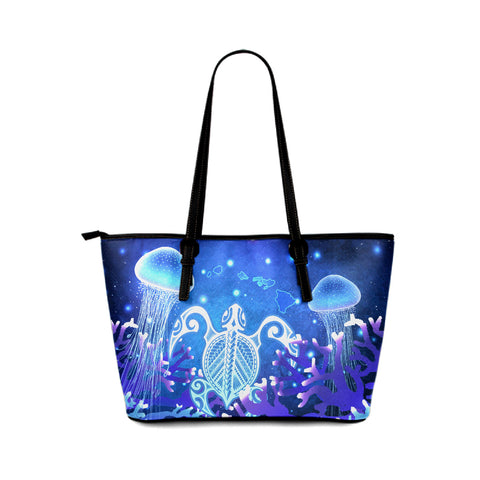Personalized - Hawaii Turtle Jellyfish Coral Galaxy Small Leather Tote - AH - J4 - Alohawaii