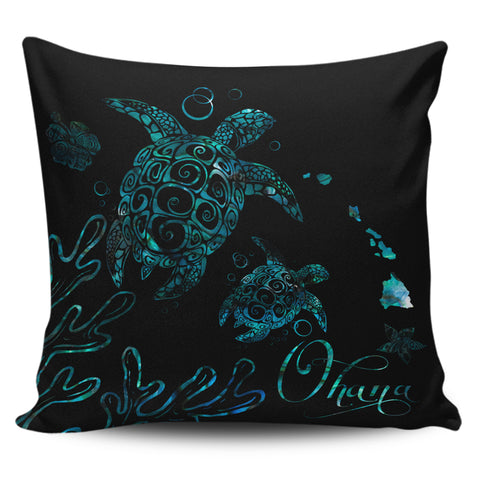 Hawaii Turtle Ohana Paua Shell Pillow Cover