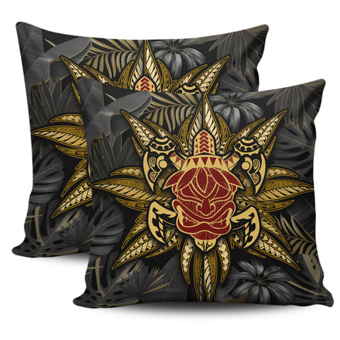 Hawaii Turtle Polynesian Tropical Gold Pillow Cover - Alone Style - AH - J4