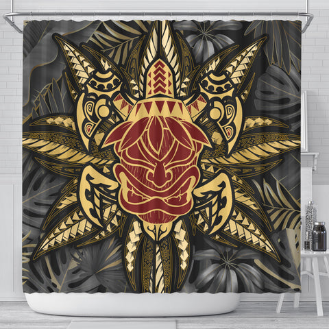 Hawaii Turtle Polynesian Tropical Gold Shower Curtain - Alone Style - AH - J4