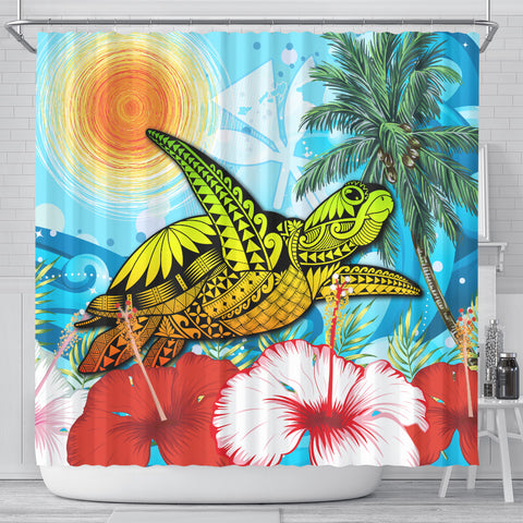 Hawaii Turtle Sea Hibiscus Shower Curtain - Sun Style - AH - J4