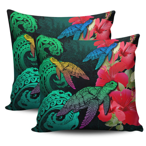 Hawaii Turtle Wave Hibiscus Pillow Cover - Unia Style - AH - J4