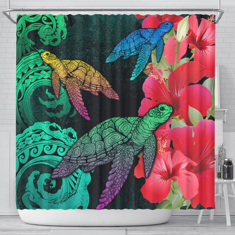 Hawaii Turtle Wave Hibiscus Shower Curtain - Unia Style - AH - J4