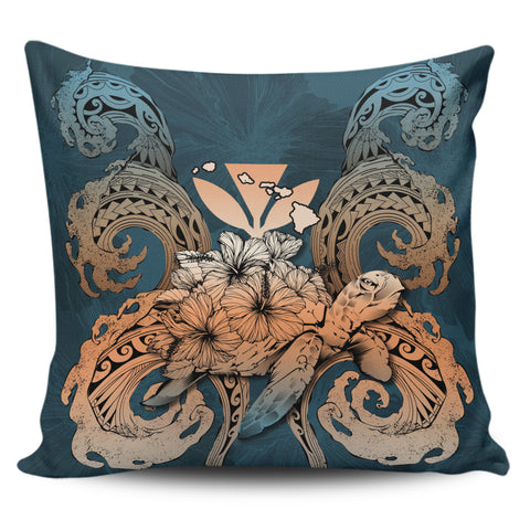 Image of Hawaii Turtle Wave Polynesian Pillow Cover - Hey Style Orange - AH - J4