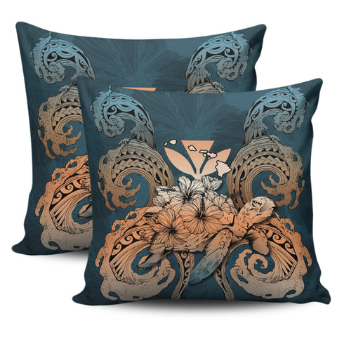 Hawaii Turtle Wave Polynesian Pillow Cover - Hey Style Orange - AH - J4