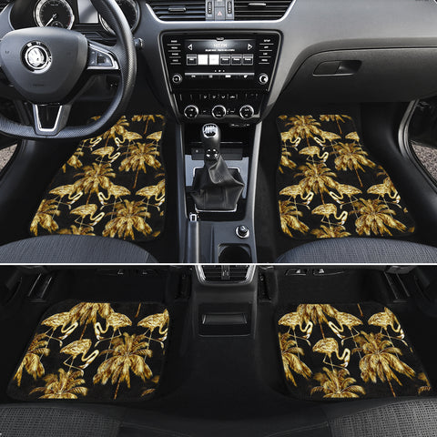 Hawaii Watercolor Flamingos Palm Trees Beautiful Seamless Hawaii Car Floor Mats - AH - J6 - Alohawaii