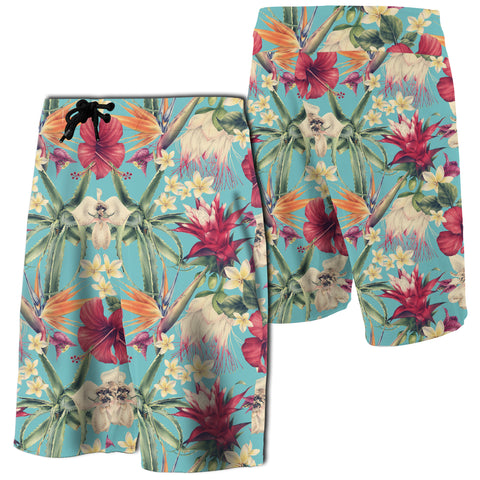 Hawaii Seamless Floral Pattern With Tropical Hibiscus Board Shorts - AH - J7 - Alohawaii