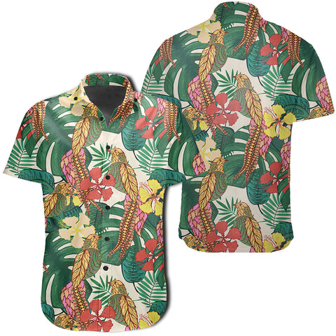 Image of Hawaiian Shirt -  Tropical Leaves Flowers And Birds Floral Jungle Shirt - AH - J7