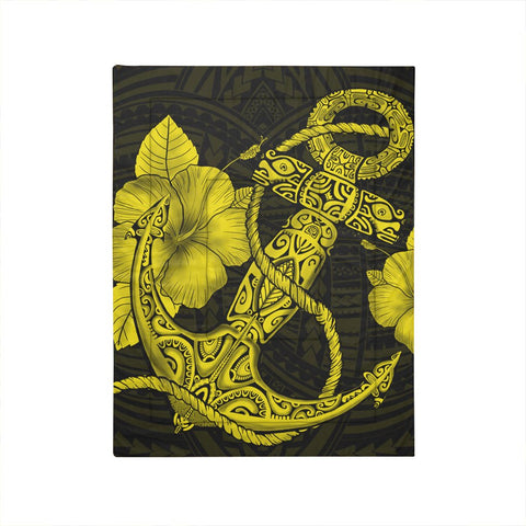 Hawaiian Anchor Poly Tribal Hibiscus Polynesian Comforter Yellow - AH - JRC