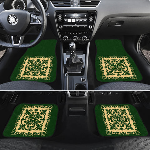 Hawaiian Car Floor Mats Royal Pattern - Emerald Green - AH - J6