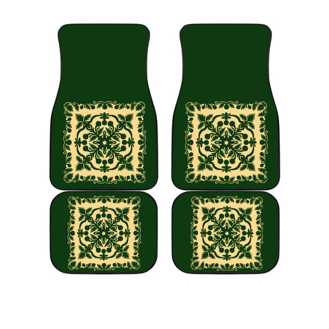 Image of Hawaiian Car Floor Mats Royal Pattern - Emerald Green