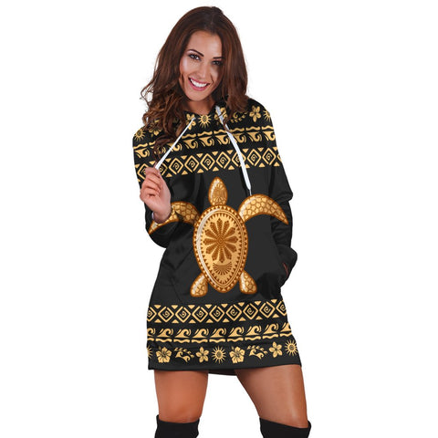 Hawaiian Golden Turtle Hibiscus Plumeria Polynesian Hoodie Dress - AH - JR | Hawaiian Women's Hoodie Dress - Hawaiian Hoodie Dress