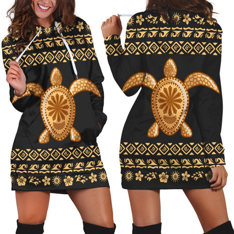 Hawaiian Golden Turtle Hibiscus Plumeria Polynesian Hoodie Dress - AH - JR