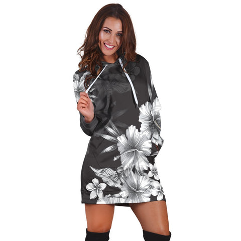 Hawaiian Hibiscus Black And White Polynesian Hoodie Dress - AH - JR | Hawaiian Women's Hoodie Dress - Hawaiian Hoodie Dress