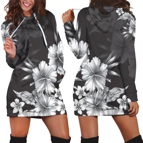 Hawaiian Hibiscus Black And White Polynesian Hoodie Dress - AH - JR