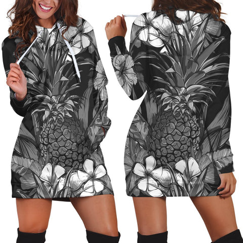 Hawaiian Hibiscus Plumeria And Pineapple Polynesian Hoodie Dress - AH - K5