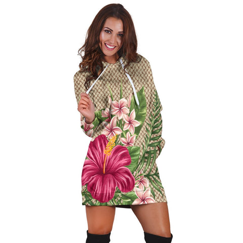Hawaiian Hibiscus Plumeria Palm Leaves Lauhala Background Polynesian Hoodie Dress - AH - A0 | Hawaiian Women's Hoodie Dress - Hawaiian Hoodie Dress