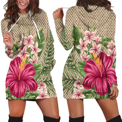 Hawaiian Hibiscus Plumeria Palm Leaves Lauhala Background Polynesian Hoodie Dress - AH - A0