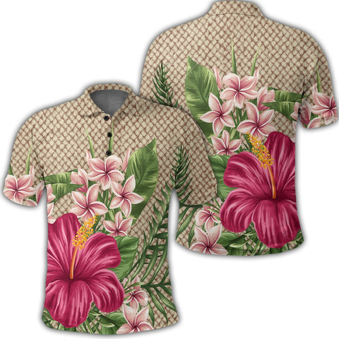 Image of Hawaiian Hibiscus Plumeria Palm Leaves Lauhala Background Polynesian Polo Shirt - AH - A0