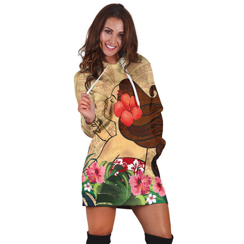 Hawaiian Hula Girl And Hibiscus Polynesian Hoodie Dress - AH - A0 | Hawaiian Women's Hoodie Dress - Hawaiian Hoodie Dress