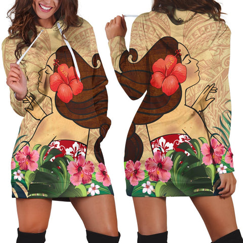 Hawaiian Hula Girl And Hibiscus Polynesian Hoodie Dress - AH - A0