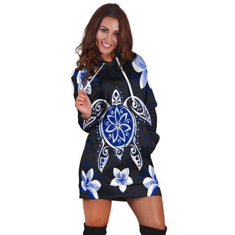 Hawaiian Icon Blue Turtle Plumeria Hoodie Dress AH - J0R | Hawaiian Women's Hoodie Dress - Hawaiian Hoodie Dress