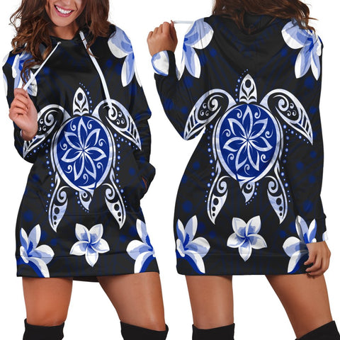 Hawaiian Icon Blue Turtle Plumeria Hoodie Dress AH - J0R