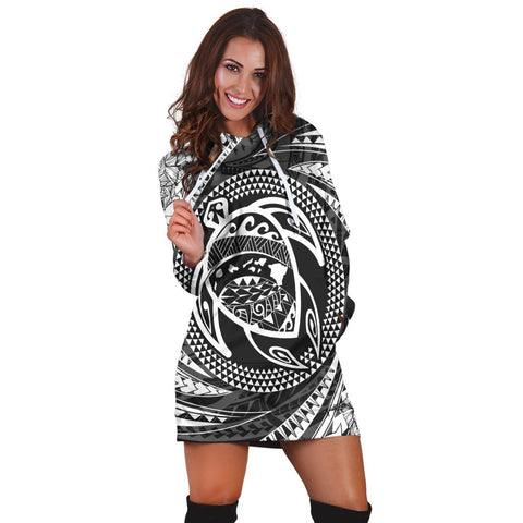 Hawaiian Kanaka Honu Hibiscus Tornando Polynesian Hoodie Dress - AH - JR | Hawaiian Women's Hoodie Dress - Hawaiian Hoodie Dress