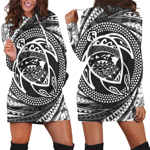 Image of Hawaiian Kanaka Honu Hibiscus Tornando Polynesian Hoodie Dress - AH - JR
