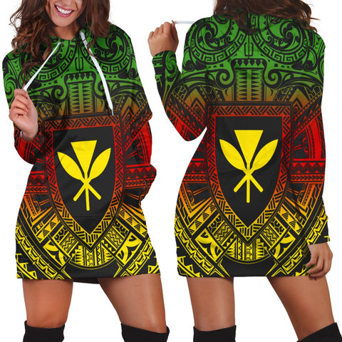 Hawaiian Kanaka Maoli Center Polynesian Hoodie Dress - AH - JGR