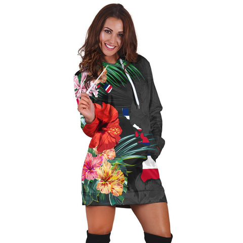 Hawaiian Map Hawaii Flag Hibiscus Polynesian Hoodie Dress AH - J0R | Hawaiian Women's Hoodie Dress - Hawaiian Hoodie Dress
