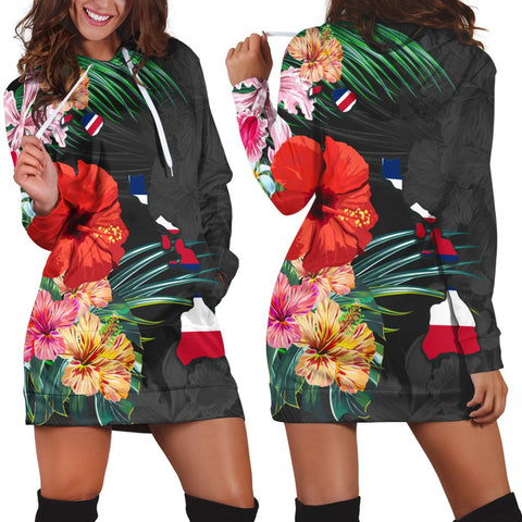 Hawaiian Map Hawaii Flag Hibiscus Polynesian Hoodie Dress AH - J0R