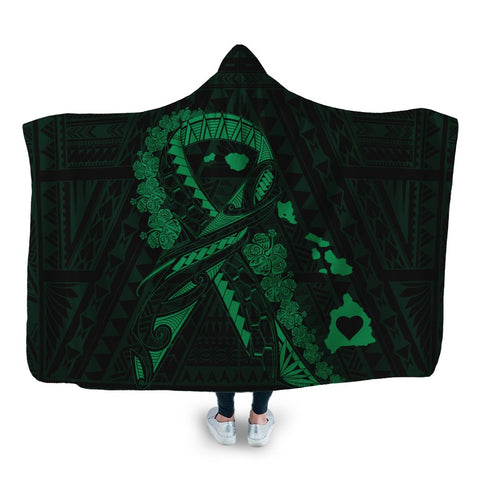 Hawaiian Map Heart Ribbon Cancer Hibiscus Green Polynesian Hooded Blanket - AH - J4R