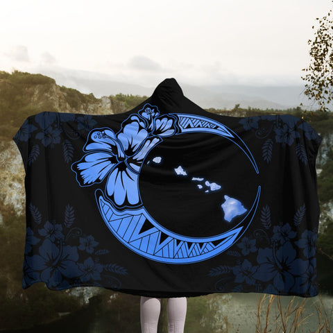 Hawaiian Map Hibiscus Turtle Polynesian Moon Hooded Blanket Blue - AH - JR | Hawaii Hooded Blanket - Hawaiian Hooded Blanket - Hooded Blanket For You
