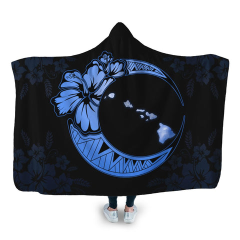 Hawaiian Map Hibiscus Turtle Polynesian Moon Hooded Blanket Blue - AH - JR
