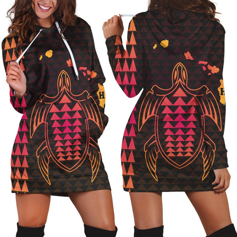Hawaiian Map Kakau Turtle Polynesian Hoodie Dress - Orange - AH - J4R
